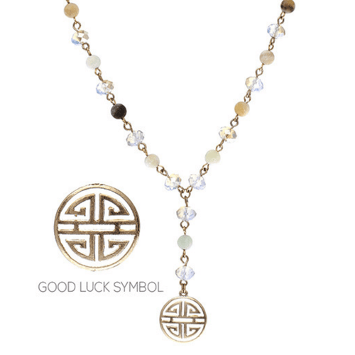 Good Luck Charm Natural Stone Gold Lariat Y Necklace - Minimalist Fashion Jewelry For Women