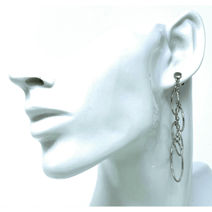 Graduated Multi Circle Textured Sterling Silver Dangle Earrings - SeaSpray Jewelry