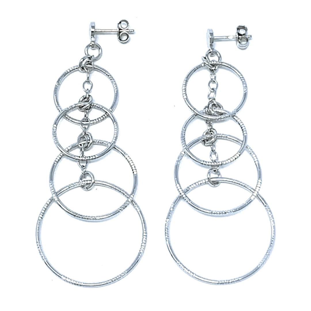 Sterling Silver Dangle Multi Circle Textured Earrings