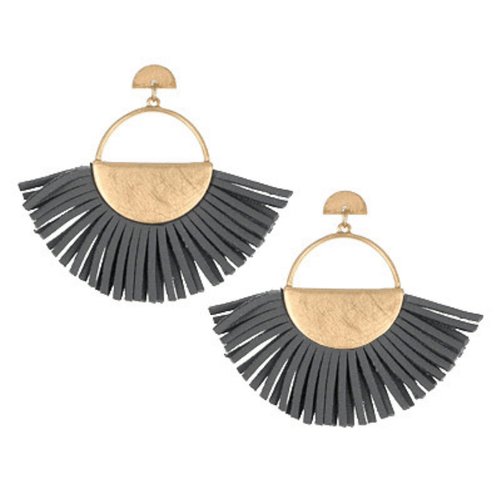 Grey Leather Fan Tassel Post Earrings - Fashion Jewelry