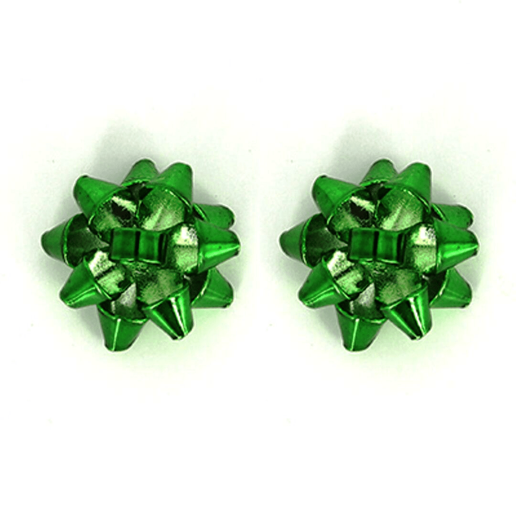Green Bow Stud Christmas Earrings - Christmas Jewlery