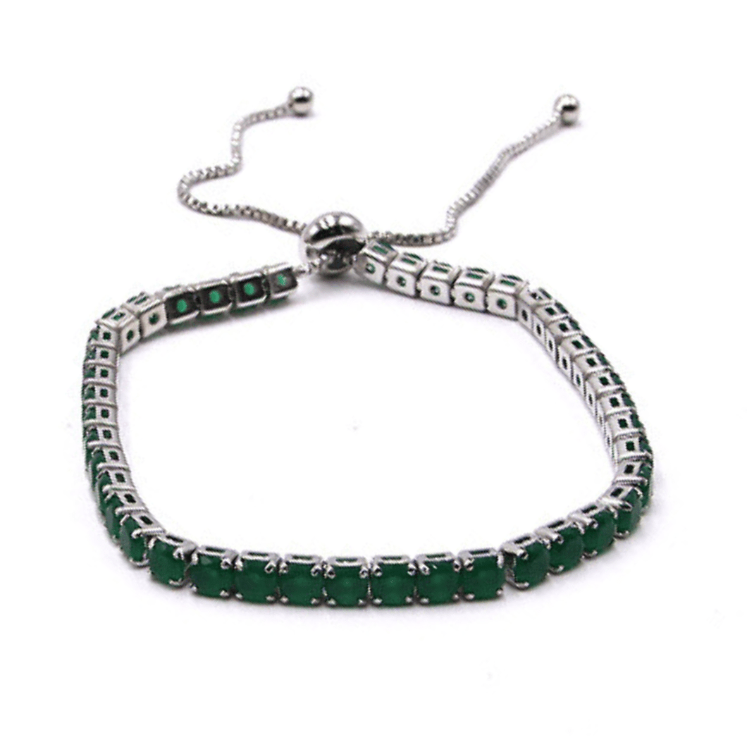 Green CZ Slide Bolo Tennis Bracelet In Silver - Fashion Jewelry