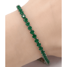 Green CZ Slide Bolo Tennis Bracelet In Silver - Costume Jewelry