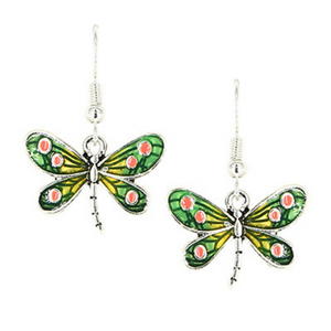Green Dragonfly Antique Silver Dangle Earrings For Women - Fashion Jewelry