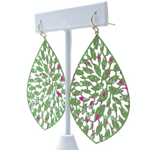 Green Filigree Metal Teardrop Statement Earrings For Women