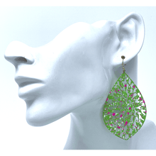 Green Filigree Trendy Teardrop Statement Fashion Earrings For Women
