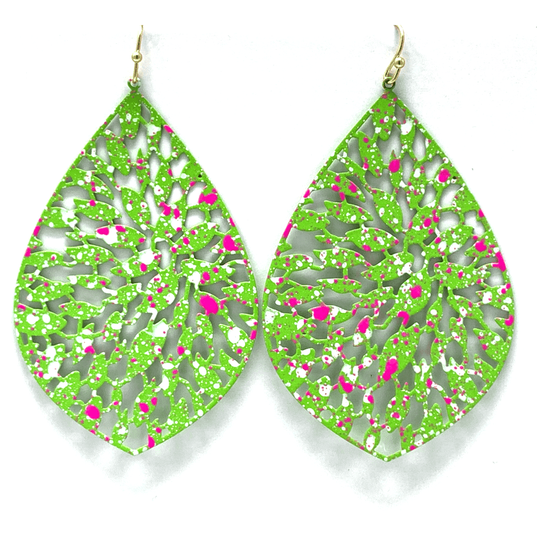 Green Filigree Metal Teardrop Statement Earrings For Women - Fashion Jewelry