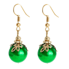 Green Ornament Dangle Christmas Earrings - Christmas Jewelry