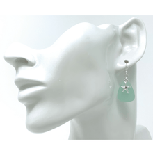 Green Sea Glass With Silver Starfish Beach Earrings For Women - Fashion Jewelry
