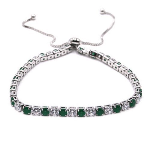 Green & White CZ Slide Bolo Tennis Bracelet In Silver - Women's Fashion Jewelry