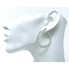 Hammered Circle Hoop Silver Earrings For Women - Fashion Jewelry