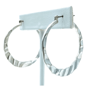 Hammered Circle Hoop Silver Earrings For Women - Costume Jewelry