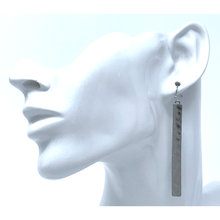 Hammered Silver Bar Dangle Earrings For Women - Fashion Jewelry