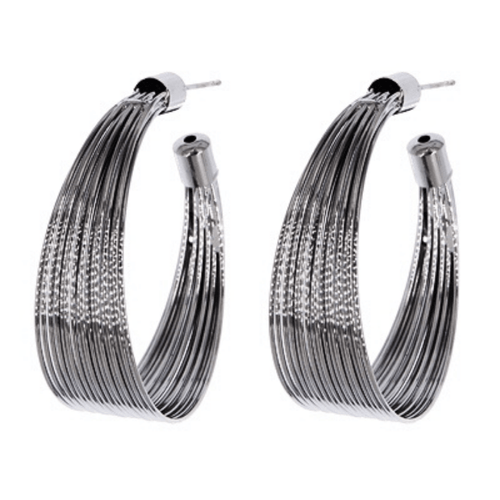 Hematite Large Hoop Earrings For Women