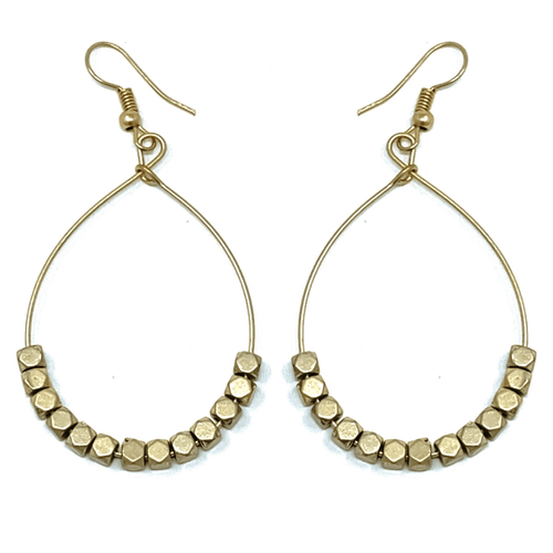 Worn Gold Open Hoop Beaded Earrings