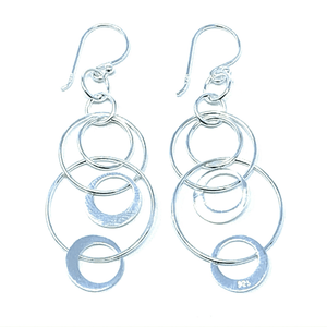 Interlocking Hoop Open Circle Sterling Silver Dangle Earrings - SeaSpray Jewelry