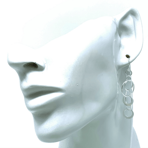 Interlocking Hoop Open Circle Sterling Silver Earrings - SeaSpray Jewelry
