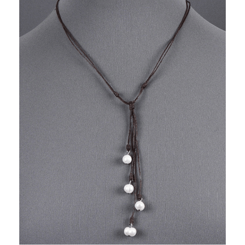 18 inch Layered Brown Leather Necklace With Pearl Accents