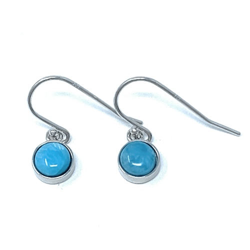 Larimar Circle Sterling Silver Dangle Earrings - SeaSpray Jewelry