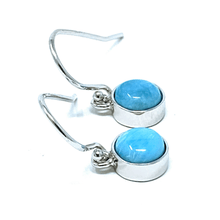 Larimar Dangle Circle Sterling Silver Earrings - SeaSpray Jewelry
