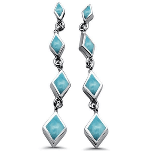 Larimar Diamond Shape Sterling Silver Stud Earrings - SeaSpray Jewelry
