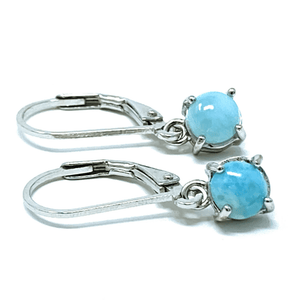 Larimar Lever Back Dangle Sterling Silver Earrings