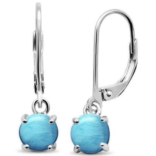 Larimar Lever Back Sterling Silver Dangle Earrings