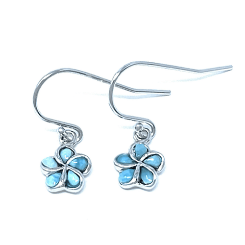 Larimar Plumeria Flower Sterling Silver Dangle Earrings