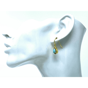 Larimar & Sapphire Gold Teardrop Earrings - SeaSpray Jewelry