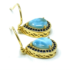 Larimar & Sapphire Teardrop Sterling Silver Earrings - SeaSpray Jewelry