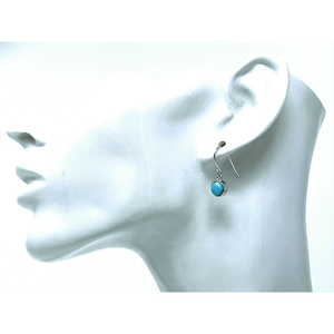Larimar Sterling Silver Dangle Circle Earrings - SeaSpray Jewelry