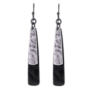 Layered Black & Silver Teardrop Dangle Earrings For Women