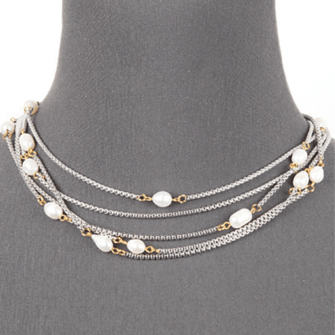 16 inch Layered Silver Chain Necklace with Pearl Accents - Women's Fashion Jewelry