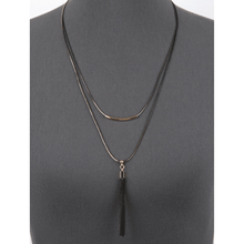 Layered Snake Chain Necklace With Bead Tassel Pendant - Statement Jewelry For Women