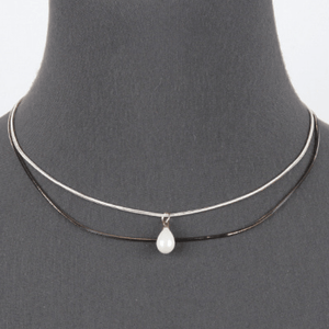 15 inch Layered Snake Chain Necklace With Pearl Pendant - Women's Fashion Jewelry