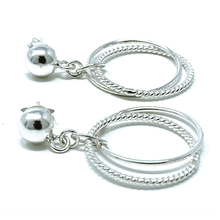 Linked Circle Hoop Sterling Silver Dance Earrings - SeaSpray Jewelry