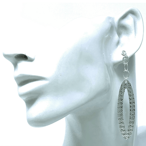 Long Sterling Silver Textured Oval Earrings - SeaSpray Jewelry