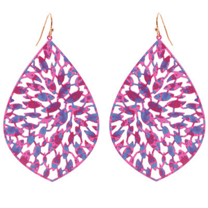 Purple Filigree Metal Teardrop Dangle Earrings For Women - Fashion Jewelry