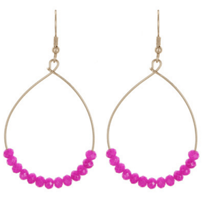 Purple Glass Bead Teardrop Dangle Earrings In Gold - Fashion Jewelry