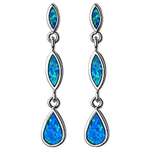Dangle Marquis & Pear Shape Blue Opal Sterling Silver Earrings