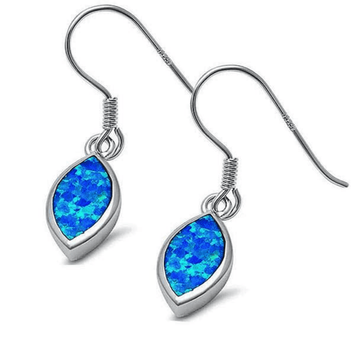 Marquise Shaped Blue Opal Dangle Sterling Silver Earrings