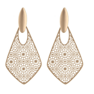 Gold Filigree Teardrop Stud Dangle Earrings For Women