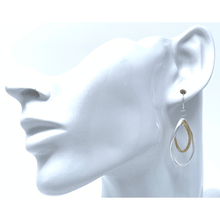 Matte Silver & Gold Curve Twist Hoop Dangle Earrings For Women - Fashion Jewelry