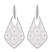 Matte Silver Filigree Teardrop Dangle Stud Earrings For Women
