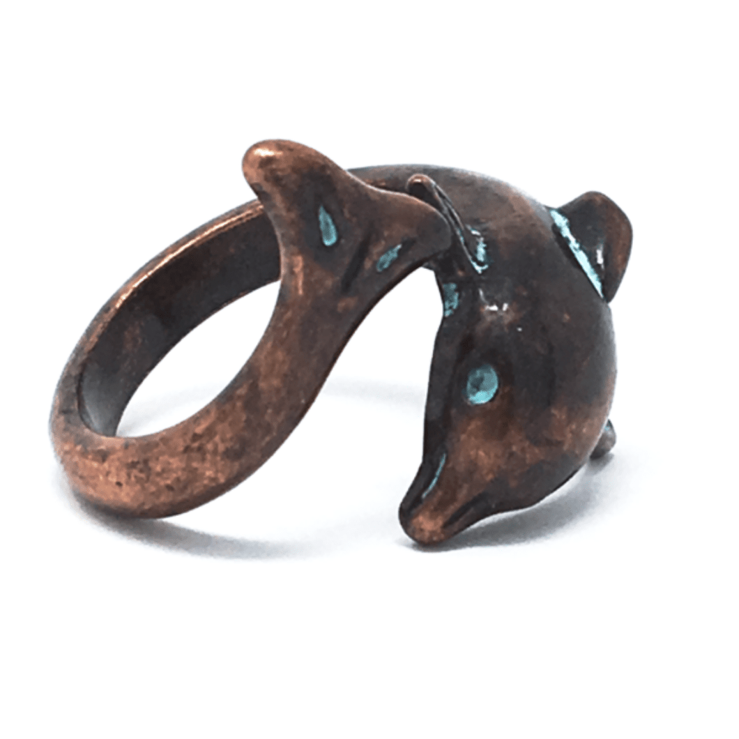 Dolphin Metal Wrap Adjustable Ring - Beach Ring