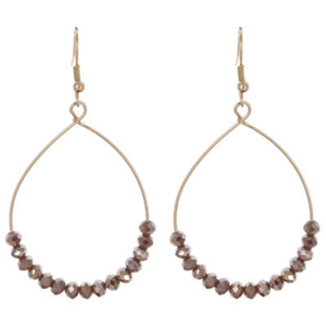 Mink Brown Glass Bead Teardrop Hoop Earrings In Gold - Fashion Jewelry