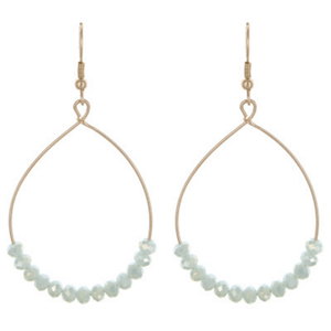 Mint Green Bead Teardrop Hoop Earrings In Gold - Fashion Jewelry