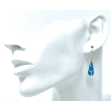 Mosaic Blue Opal Teardrop Sterling Silver Earrings - SeaSpray Jewlery