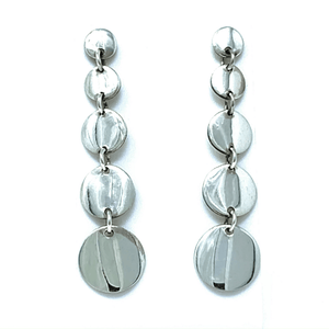 Multi Circle Disc Sterling Silver Drop Earrings - SeaSpray Jewelry