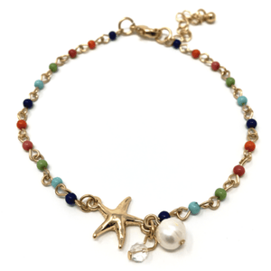 Gold Starfish Beaded Anklet With Pearl Accent - Ankle Bracelet